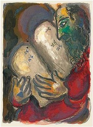 moses with the new tables of law by marc chagall