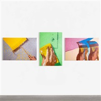 handrolling, cleaning, painting (triptych) by marilyn minter
