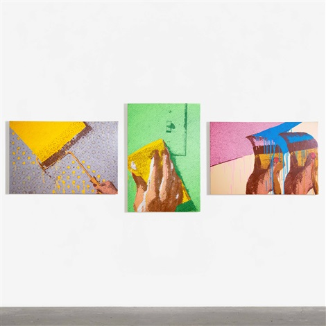 handrolling cleaning painting triptych by marilyn minter