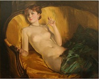nude wearing pearls by howard chandler christy