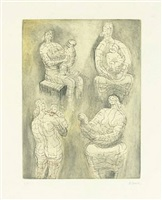 four mother and child studies by henry moore