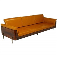 rosewood and leather skeleton back sofa by jorge zalszupin