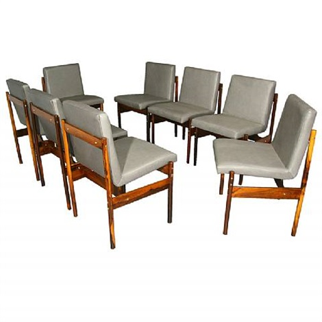 Set Of 8 Rosewood And Gray Leather Dining Chairs By Novo Rumo