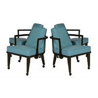 set of four blue leather rolling arm chairs by monteverdi young