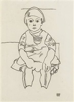 portrait of a seated child (anton peschka, jr.) by egon schiele