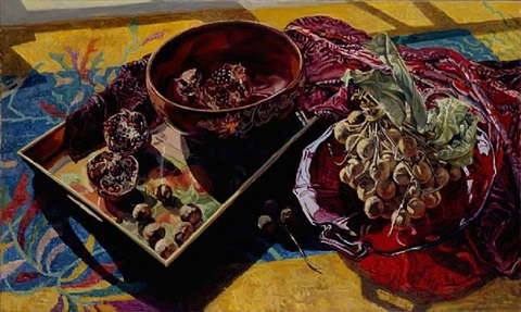 pomegranates in bowl by janet fish