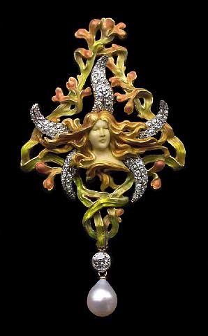 'the birth of venus' pendant / brooch by louis aucoc