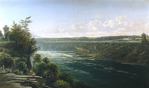 suspension bridge over the niagara river by ferdinand richardt