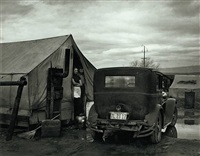 car and tent with stove, from the grapes of wrath by horace bristol