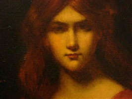 bust of a young woman wearing a red dress (detail) by jean jacques henner
