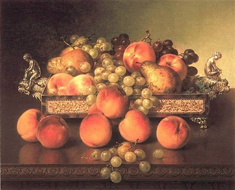 still life with peaches and silver dish by robert spear dunning