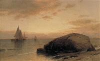 coastal scene at twilight by alfred thompson bricher
