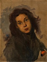 niña con naranja by leopoldo romanach