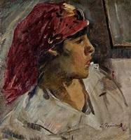 mujer con pañuelo rojo by leopoldo romanach