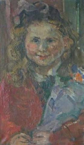 girl with flowers by michel kikoïne