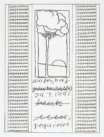 "serigraphie, aus portfolio ""columbus"" by hanne darboven"