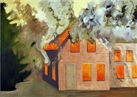 burning house with clapboards by lois dodd