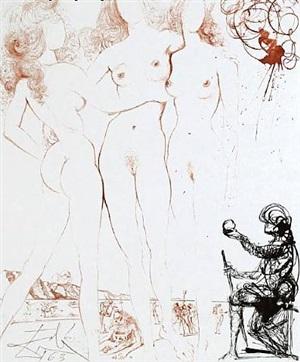 the judgement of paris : mythology by salvador dalí
