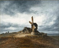 windmills at montmartre by georges michel