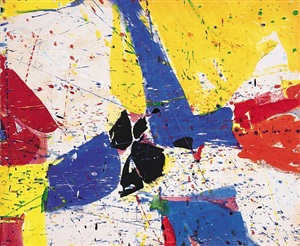 red and blue – homage to jensen – by sam francis