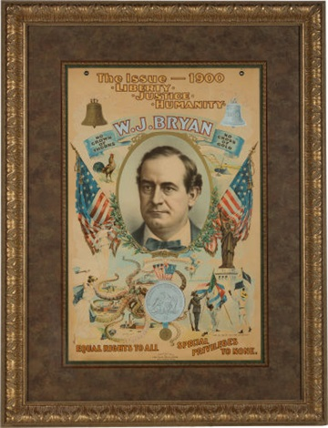 "william jennings bryan: the iconic ""bryan octopus"" poster from the 1900 election by strobridge lithograph co."