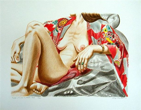 model in kimono on plastic chair by philip pearlstein