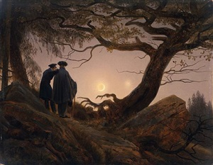 zwei männer in betrachtung des mondes / two men contemplating the moon by caspar david friedrich