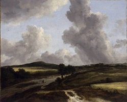 kornfeld in hügeliger landschaft / cornfield in a hilly landscape by jacob van ruisdael