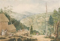 view at catskill falls by john rubens smith