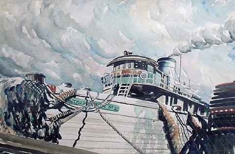 new york harbor tug, circa 1940's by john r. grabach