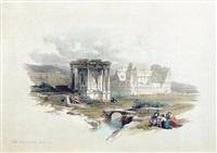 circular temple, baalbec by david roberts