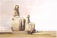 thebes - colossal statues of amunoph iii by david roberts