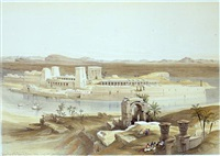general view of the island of philae, nubia by david roberts