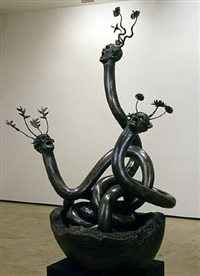 triple snake head by ashley bickerton