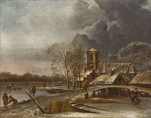 a winter landscape by hendrik jacobsz dubbels