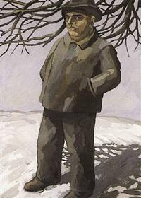 farmer in snowscape (bauer in schneelandschaft) by hermann albert