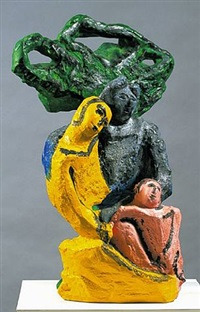 figures with a tree by sandro chia