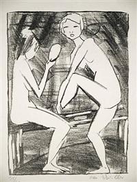 zwei mädchen mit handspiegel (2) by otto mueller
