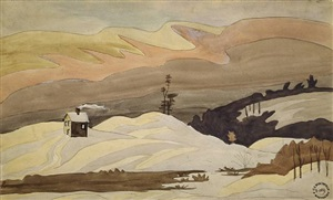 houses in snowy winter landscape by charles ephraim burchfield