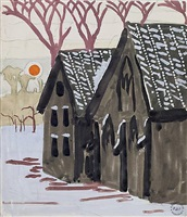 landscape with orange sun by charles ephraim burchfield