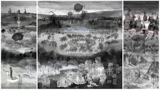 microcosm 3-panel complex work by miao xiaochun