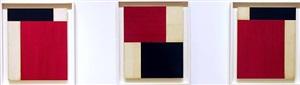 rouge et noir assemblage ix, rouge et noir assemblage xvi, and rouge et noir assemblage xxiii by robert kelly
