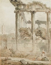landscape with the temple of saturn, rome by hubert robert