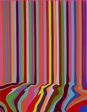 puddle painting: magenta by ian davenport