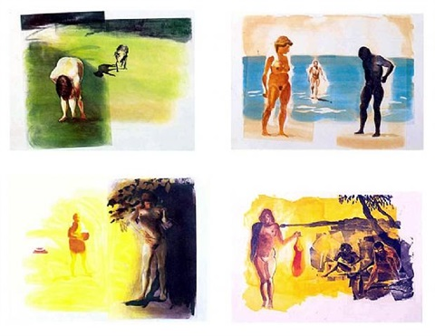 four aquatints (beach, dog, rays, innertube) by eric fischl
