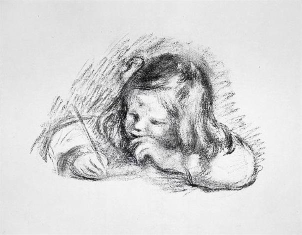le petit garcon au porte-plume (little boy with quill pen) by pierre-auguste renoir