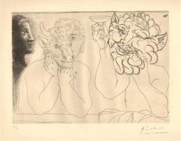 jeune homme au masque de taureau, faune et profile de femme by pablo picasso