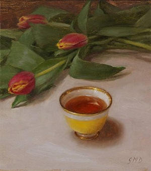 yellow tea cup with tulips by grace mehan de vito (sold)