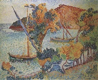 tartanes dans la baie de pramousquier by henri edmond cross