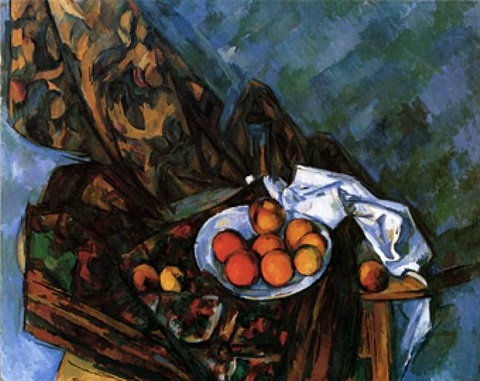 nature morte au rideau à fleurs et fruits by paul cézanne